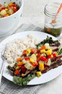 Grilled Pork Salad with Fruit Salsa and Coconut Rice  Fabtastic Eats