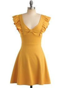 Mustard dress. Soooo cute, but I don't think the color would do any favors for my complextion.
