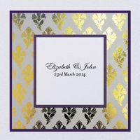 Layered Metallic Floral Brocade Square Invitation Folded 145mm in Regal - DreamDay Invitations
