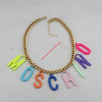 Moschino Rainbow Logo Women Chain Necklace Gold