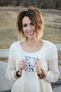 Wavy short ombre hair. Like the cut and waves....undecided about this ombre version. Maybe too drastic with the ends too light? Also would add bangs :)