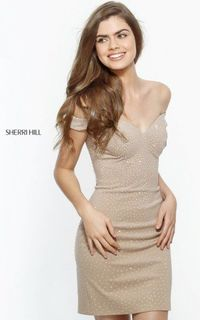 HOT SALE SHORT JERSEY NUDE SHERRI HILL 51324 HOMECOMING DRESS SALE