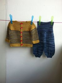 garter yoke baby cardi by Jennifer Hoel. malabrigo Sock in Ochre and Azules. Balloon Baby Pants in Azules.