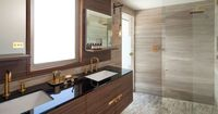 A marble bathroom in the Sydney beachfront suburb of Coogee by Minosa Design. Photography by Nicole England.