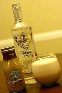 Why didn't I think of this?! Starbucks Frappuccino blended with ice and Whipped Cream Vodka. IM DOING THIS. :)
