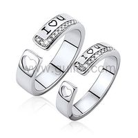 Gullei.com Personalized Hearts Promise Silver Rings Set for Friends