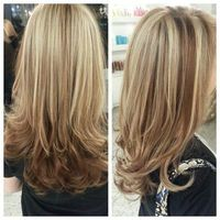 Beige Blonde Highlights on Light Brown base