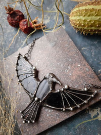 Big Dark Raven Necklace, Black stained glass Pendant, Fairytale Gifts, Bird Necklace, Crow Charm $67.00
