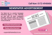 TheMediaCat enables you to book Newspaper Advertisement online in all leading newspapers. It is a suitable platform to publicize your business in classified ads, display ads and in advertorial option to boost the services and product selling. They also pr...