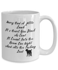 Mary had a little lamb - evil lamb dirty rude vulgar white ceramic coffee mug gag gift| batchelor part... $15.95