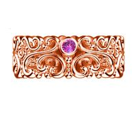 Celtic Rose Solid Gold Pink Sapphire Wedding Band Flower Filigree band 3 Pink Sapphires 7mm width Flower Band Eternity Ring $950.00
