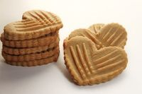 Crispy heart shaped peanut butter cookies.