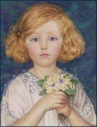 Young girl with primroses - Margaret W Tarrant