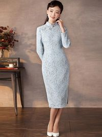 Sweet Blue Floral Qipao / Cheongsam Dress for Winter