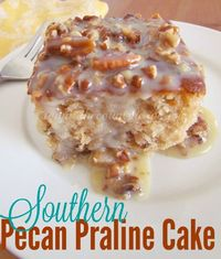 Southern Pecan Praline Cake with Butter Sauce - The Country Cook