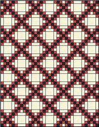 Double Irish Chain Quilt Pattern ~ this pattern has (3): a single, double and triple, Shown here is the double. This quilt pattern uses three fabrics ~ two for the 'chains' and one for the background. Nice looking and simple. Click on pict...