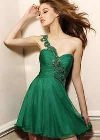 Beaded One Shoulder Short Ruched Emerald Homecoming Dress