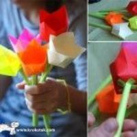 Simple origami flowers. Instructions are in Russian but the pictures tell all you need to know.