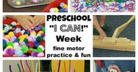"""I Can Week in preschool �€"""" fine motor activities that build confidence and practice skills Check out these ideas from Mom to 2 Posh Lil Divas. Great for playgroup! 