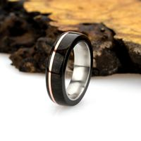 Size Exchange - Wood Wedding Band,Men & Women,Natural Solid Wood Ring,Royal Ebony Wood Zebra Wood,Copper Wire Inlay $30.00