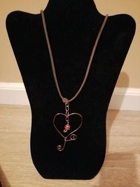 Wire Wrapped Heart Pendant Necklace Style #2 $10.00