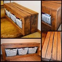 Here are some pictures of outdoor pallet benches, pallet benches with storage, rustic pallet benches, entryway pallet benches and pallet bench DIY ideas.