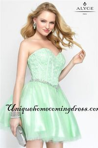 Strapless Alyce Paris 3682 Lace Short Mint Homecoming Dress 2016