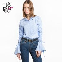 School Style Flare Sleeves White Blue Summer Tie 9/10 Sleeves Stripped Blouse - Bonny YZOZO Boutique Store
