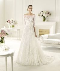 Exquisite A-line Off-the-shoulder Half Sleeve Beading Lace Hand Made Flowers Sweep/Brush Train Tulle Wedding Dresses - Dressesular.com