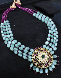 Beautiful Mona Lisa semi precious beads Mala with elegant Polki stones pendent. $260.00