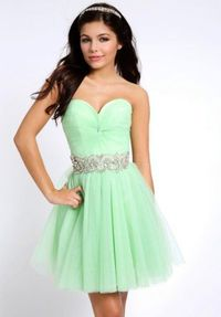 Short Green Ruched Beaded Homecoming Dress 2014 for Sale