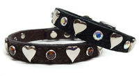 Suede Leather Small Dog Cat Collars with Hearts, Swarovski Crystal Bling | Black leather | Brown leather | Western $29.00