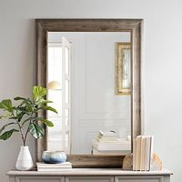 Woodgrain with Slope and Bronze Edge Wall Mirror