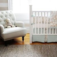Picket Fence baby Bedding- New Arrivals Inc. Just love the beige and blue combo- Perfect combo for a unisex nursery!