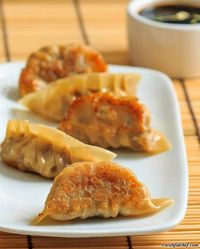 Pan Fried Pork Dumplings with Mushrooms