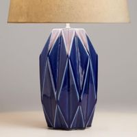 Azure Blue Geometric Ceramic Table Lamp Base - v1