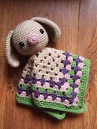 Amigurumi Crochet Spring Bunny Security Blanket