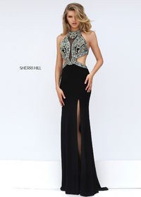 Sherri Hill 50383 Beaded Cut Out Illusion Evening Gown For Women