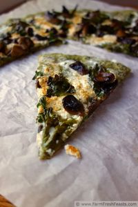 Spicy Kale Pizza Dough with Mushrooms and Cheese