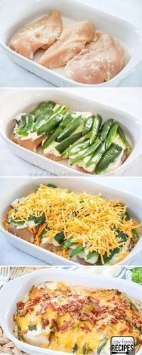 All of the delicious flavor of cream cheese jalapeño poppers are stuffed into this Jalapeño Popper Chicken Casserole recipe to make a quick, easy, and over the