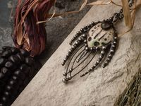 Pendant- The Predator. Necklace with clay mask, natural fluorite. Shaman ( shamanic ) jewelry, alien vs predator, $48.00
