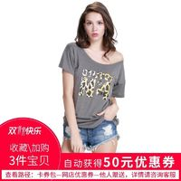 Must-have Street Style Printed Scoop Neck Leopard Alphabet Summer Casual Short Sleeves T-shirt - Bonny YZOZO Boutique Store