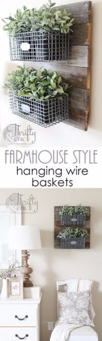"""Outstanding Best Country Decor Ideas �€"""" Farmhouse Style Hanging Wire Baskets �€"""" Rustic Farmhouse Decor Tutorials and Easy Vintage Shabby Chic Home Decor for Kitchen, Living Room and Bathroom �€"""" Creativ .."""