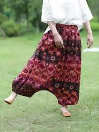 Bohemian Hippie Pants, Harem Pants, Cotton Yoga Pants, Drop Crotch, Wide Leg and High Waist, Red wine and black, Boho Clothing Harem Pants