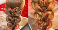 """I'm pinning just because how cool this looks. The push curl waterfall braid..4 rubber bands and no curling needed! �šо�а � �€езинками - """"Се�€де�‡ки"""" - 2"""