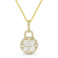 0.72ct Round Cut Diamond Pave Pendant & Chain Necklace in 18k Yellow Gold w/ 14k Chain - AM-DN4629
