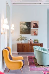 i love a good sofa, but my favorite living room statement piece is something unique, comfy and colorful. enter: the lounge chair. it's that perfect something to