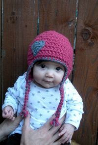 Chunky baby earflap hat in pink and grey with crocheted by luvbuzz,
