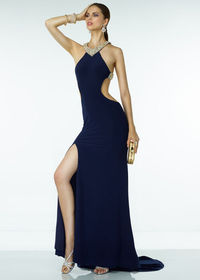 Sexy Beaded Halter Straps Crisscross Back Side Slit Navy Prom Dress
