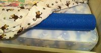 If your kids have a tendency to roll out of bed at night (as my 9-year-old son sometimes does) you can add bumpers to each side of the bed to make it more diffi